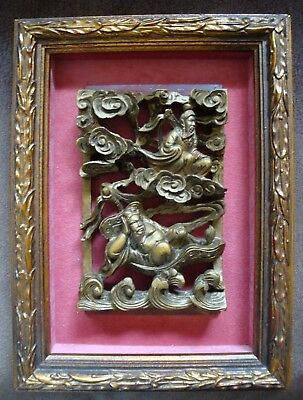 Antique Chinese Asian Carved Wood Heavenly Scene Panel High Relief Framed