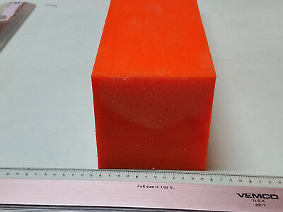 "3"" x 3"" X 11-7/8 URETHANE / POLYURETHANE 80 A ORANGE BAR P/N 12164"