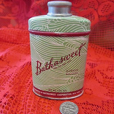 Vintage Tin Bathasweet Perfumed Luxury for Bath Powder Tin Garden Bouquet