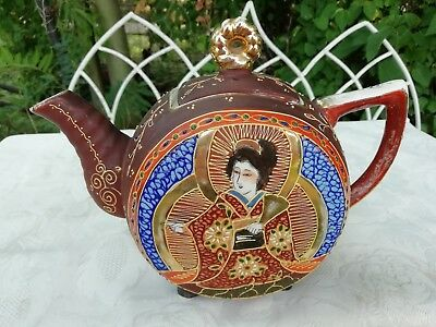 Satsuma Japanese Tea Pot Geisha Circa 1920 Painted Gilded Porcelain