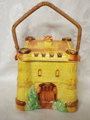 Unusual Rare 1930's Cottage Ware Biscuit Barrel Old English Castle Cane Handle