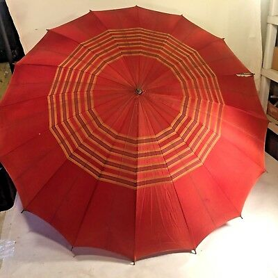 Vtg 1950 MCM Red Striped Umbrella w Interesting Lucite Rose Flower Handle