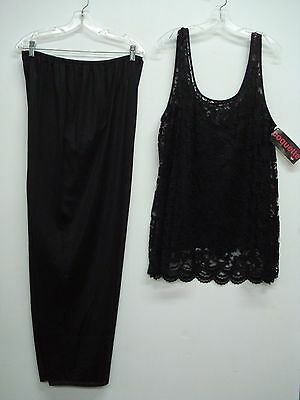 NWT Coquette 3 Piece Pajamas Sleepwear Pants Top Cover Top Size 3X Black #762N