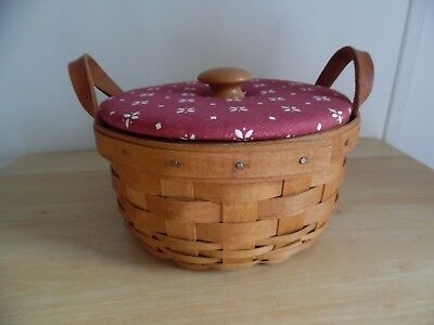 "Longaberger 1993- 7"" Button Basket w/Red Fabric Covered Lid"