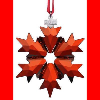 Swarovski Red Crystal Snowflake Xmas Holiday Ornament Decor Collectible 2018