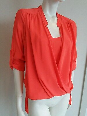 Rose Olive Coral Twisted Blouse Sz S Nwt 36 99 Picclick