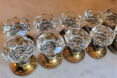 1 Pair VINTAGE (ANTIQUE) DOOR KNOBS - CLEAR CRYSTAL /glass - Pulls HANDLES 55 mm