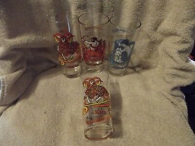 Lot of 4 Arby's Zodiac Glasses 1976