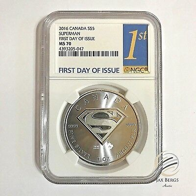 2016 Canada  S$5 SUPERMAN RARE 1 oz .9999 Silver NGC MS 70 First Day of Issue
