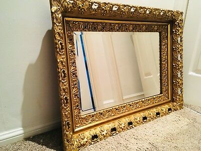 Antique Mirror Gilt Over Mantle Large Statement Bevel Edge Imposing & Classical