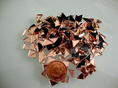 100 pcs Mosaic Rose Gold Mirror Tiny Triangular shaped pieces, 2 mm thick