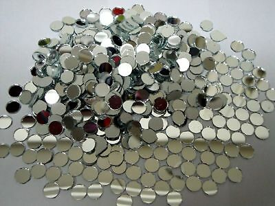 50 Glass (Shisha) Silver Mirror approx 9 mm round for embroidery.