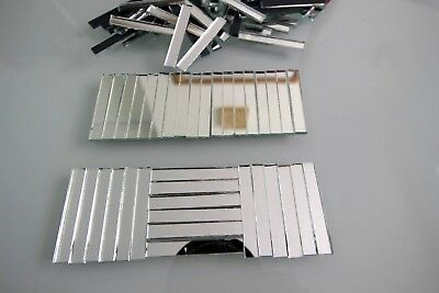 Mosaic Silver Mirror Glass strips, Art & Craft, 3 x 0.5 cm, 2 mm,  100 pcs