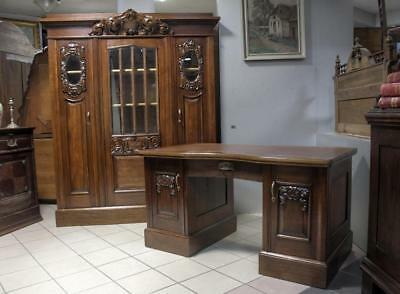 Carved Bookcase With Desk 7800