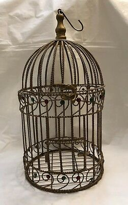"""Vintage Bird Cage Twisted Metal Red & Green Rhinestone's 18"""" Tall"""