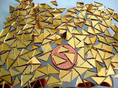 100 # Mosaic Quality Gold Mirror Tiny Triangular shaped pieces, 1.6 mm thick