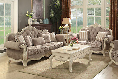 Antique White Living Room Couch Set Furniture - Beige Fabric Sofa Loveseat IRA5