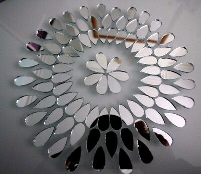 Mosaic Silver mirror Glass, Tear drop shape 1 X 2 cm, 50 pcs