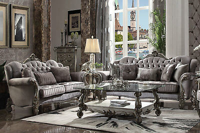 Antique Platinum Formal Living Room Couch Set - Gray Velvet Sofa & Loveseat IGAD