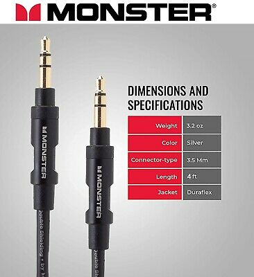 Monster® Audio Aux Cable 3.5mm Stereo Jack Male Black/Gold 4ft - 1.22m
