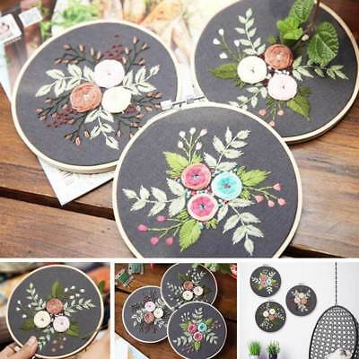 Retro Two Layer Wooden Cross Stitch Embroidery Hoop Ring Frame Round DIY Tools