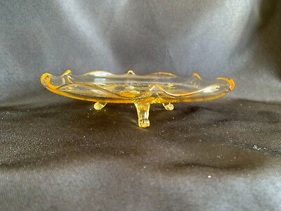 Yellow Depression Glass Lancaster Landrum Topaz 3 Footed Bowl Etched