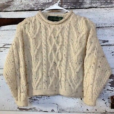 McKennas Kids Childrens L Wool Cable Knit Fishermans Sweater Pullover England