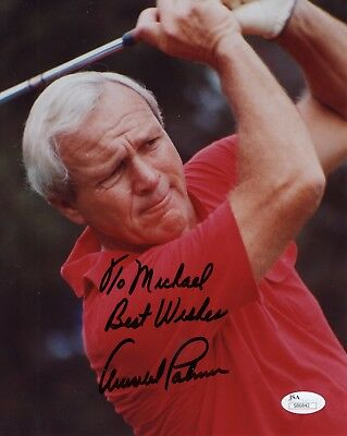 ARNOLD PALMER AUTHENTIC SIGNED 8x10 COLOR PHOTO     JSA AUTHENTIC     TO MICHAEL