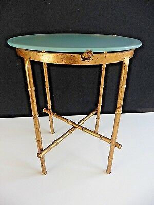 Vintage Gilt Metal FAUX BAMBOO Occasional TABLE Hollywood Regency Frosted Glass