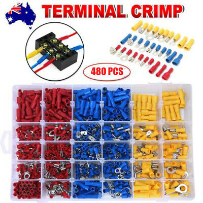 480Pc Electrical Wire Connector Assorted Insulated Crimp Terminals Spade Set Kit