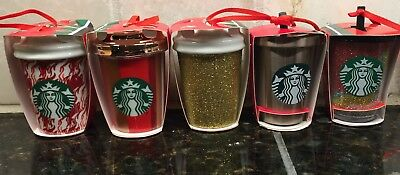 5 Starbucks 2018 Holiday LE TO GO CUP Ornaments Tumbler Mug Cup