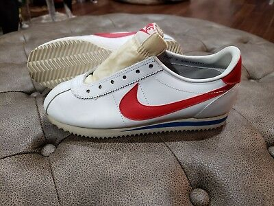 8193b93a41 80's Vintage Nike Cortez Leather Shoes Women's 7 Sneakers Tennis White/Red