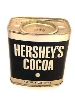 Hersheys Cocoa TIN VINTAGE 8 oz GREAT FOR BAKING With Recipes Metal Container VG