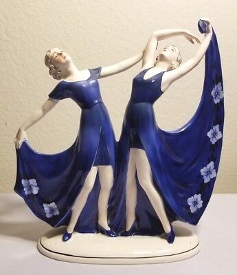 Art Deco Katzhutte Hertwig & Co Two Dancing Ladies Germany BLUE - RARE MINT COND