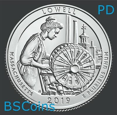 2019 PD ATB Qtrs Lowell Nat Hist Park, MA - BU TWO Coins - In Stock Ship TODAY!!