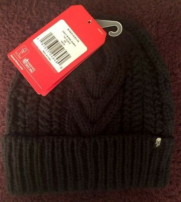 NWT The North Face, Women's O/S Black Cable Knit, Minna Beanie, Winter Hat