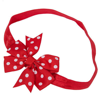 1X(Red Baby Bowknot White Polka Dot Headband Hairband Q2F2)Q2F2)