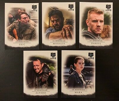 Topps The Walking Dead Season 8 Part 1 In Memoriam Cards IM  COMPLETE 5 Card Set