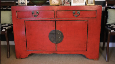 Antique  Red Chinoiserie Elmwood Cabinet