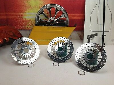 Harley Front & Rear Polished Chrome Brake Rotors Touring, Softail, Dyna Dual