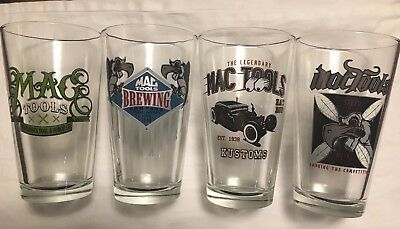 Mac Tools beer glasses. Set of 4 Rare Rat Rod Pint Highly Collectible