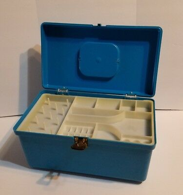 """Vintage Wilson Wil Hold Blue Aqua Plastic Craft Sewing Box Case Tray 12"""""""