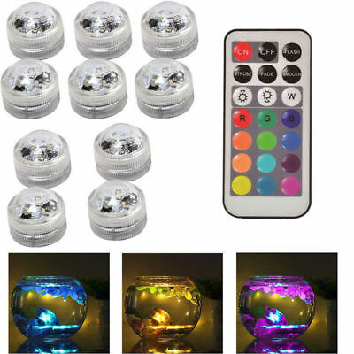 10pc Waterproof LED RGB Submersible Light Party Vase Lamp With Remote Control US