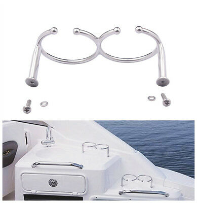 Stainless Steel Ring Cup Drink Holder  Boat/ Truck / RV Cup Rack with Screws