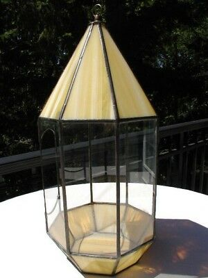 Vtg 1960's Stained Glass Plant Candle Hanger Garden Patio Holder Terrarium Style