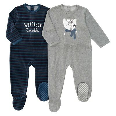 Boys Pack Of 2 Printed Velour Sleepsuits, Birth-3 Years