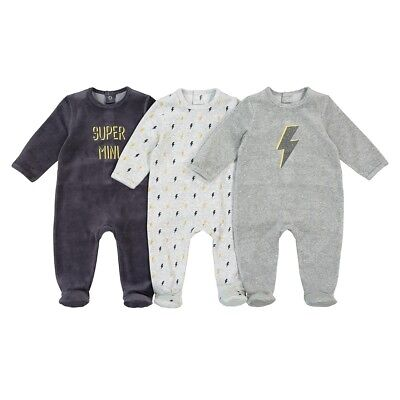 Boys Pack Of 3 Velour Sleepsuits, Birth-3 Years