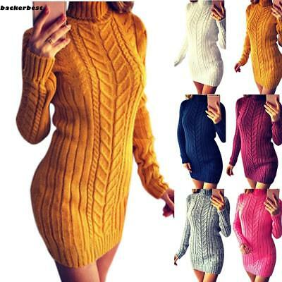 Women Fashion Casual Solid Turtle Neck Knit Bodycon Twist Sweater Dress LL
