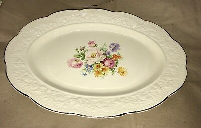 Edwin M Knowles China Co oval serving platter - with colorful flowers
