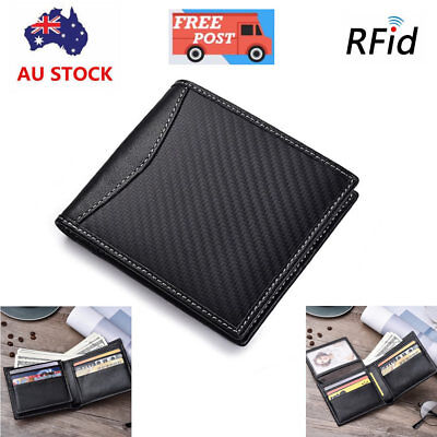 Carbon Fiber Leather Mens RFID Blocking Flip Wallet Slim ID Credit Card Holder